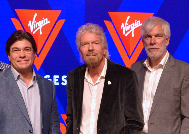 Tom McAlpin CEO & President, Sir Richard Branson Founder Virgin, Stuart Hawkins SVP Marine & Technical at the rollout of the new name and logo for Virgin Voyages.