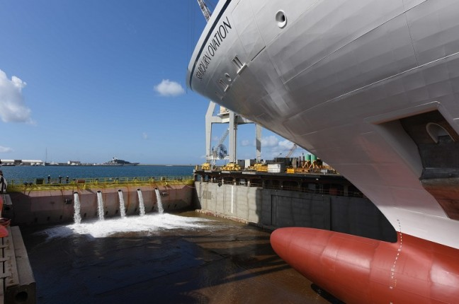Seabourn celebrated a milestone in the construction of the new Seabourn Ovation, with the ship touching water for the first time today at the Fincantieri shipyard in Sestri, Italy (PRNewsfoto/Seabourn)