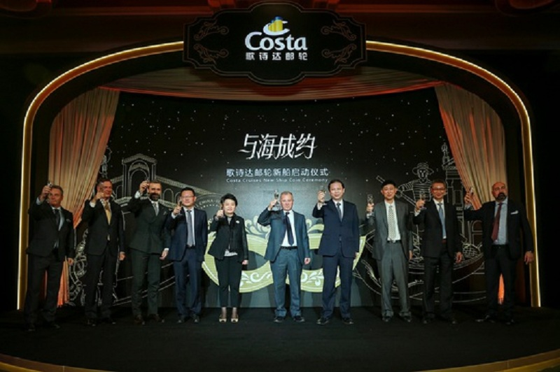 Cerimonia della moneta per Costa Venezia, la prima nave Costa costruita per il mercato cinese.