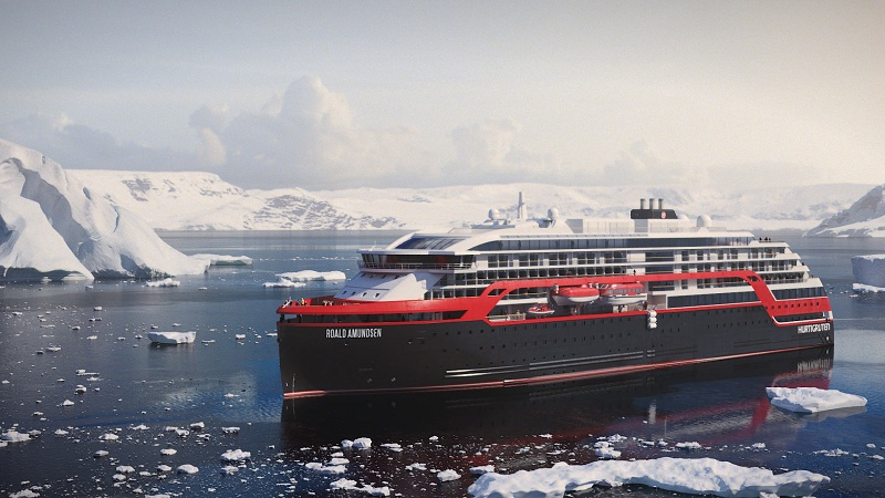 Consegnata Roald Amundsen, la prima nave da crociera ibrida in grado di funzionare anche a batterie