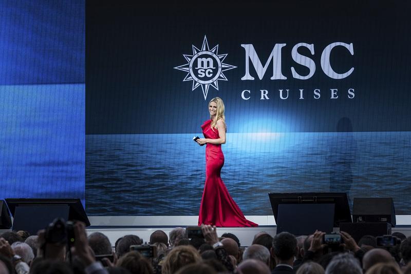 Parte il conto alla rovescia: Michelle Hunziker ospite d'onore alla cerimonia di battesimo di MSC Grandiosa ad Amburgo