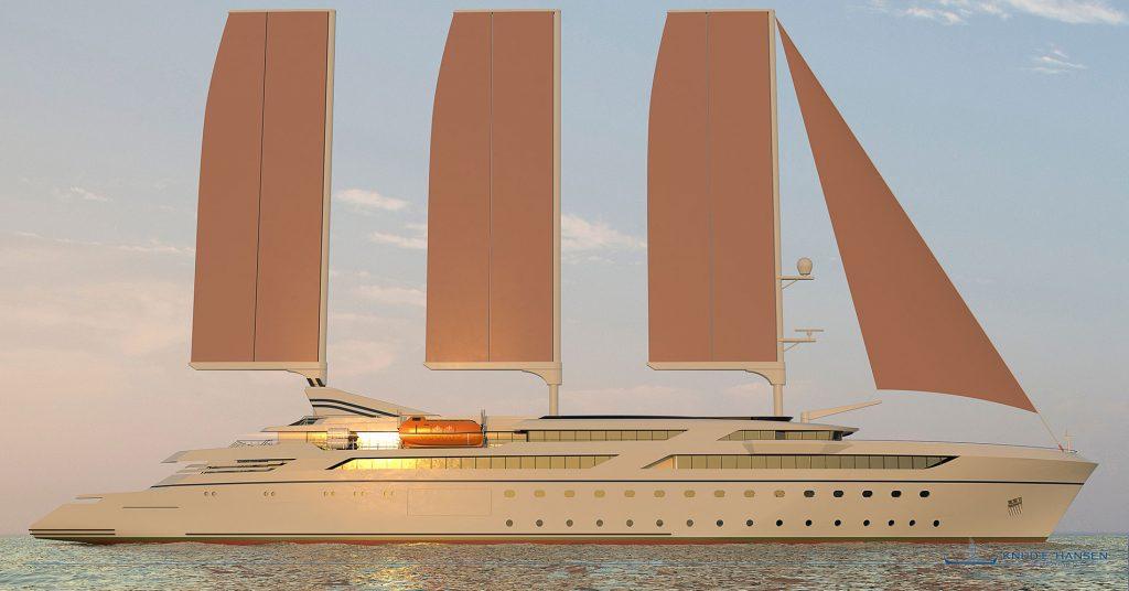 Knud E. Hansen presenta il suo nuovo progetto di nave da crociera a vela assistita