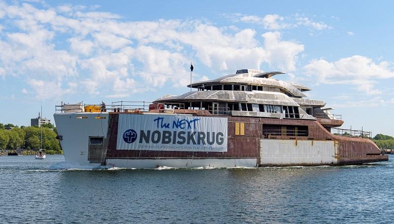 Project 794 di Nobiskgrug trasferito a Rendsburg per i lavori di allestimento