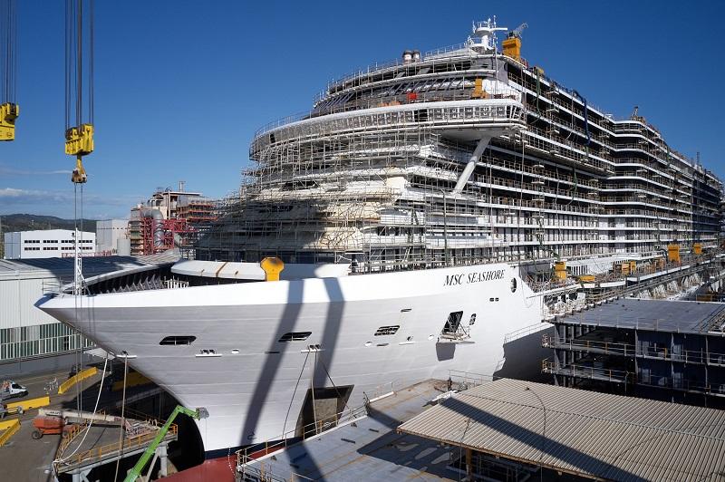Varo tecnico per MSC Seashore, la nave più grande mai costruita in Italia
