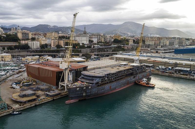 Seabourn Venture trasferita a Genova per la fase di allestimento finale